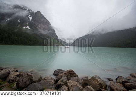 A Picture Of Lake Louise And Mountains Taken On A Rainy Morning.   Banff National Park  Ab Canada