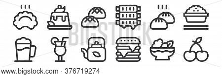 12 Set Of Linear Gastronomy Icons. Thin Outline Icons Such As Cherry, Burger, Cocktail, Baozi, Buns,