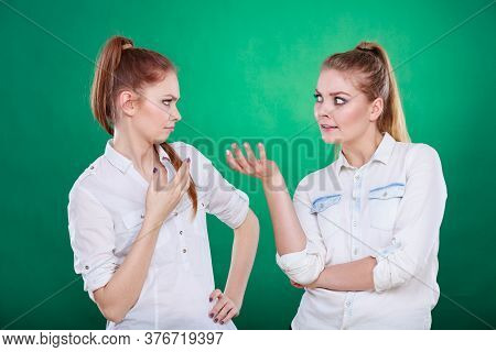 Young Woman Telling Her Friend Some Secrets, Two Women Talking Gossiping. Excited Emotional Girl Whi