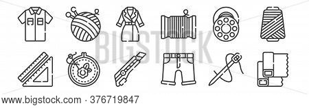 12 Set Of Linear Sewing Icons. Thin Outline Icons Such As Fabric, Shorts, Embroidery, Bobbin, Jacket