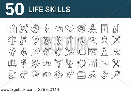 Set Of 50 Life Skills Icons. Outline Thin Line Icons Such As Magnifying Glass, Hourglass, Bookshelf,