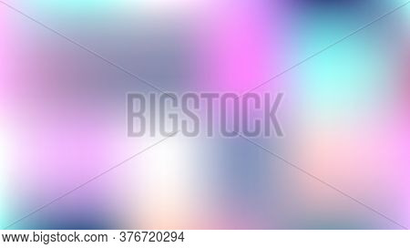 Unfocused Mesh Vector Background, Hologram Bright Overlay. Dreamy Pink, Purple, Turquoise Nice Femal