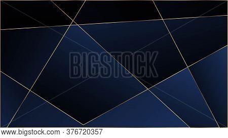 Blue Premium Triangular Texture. Elegant Dark Platinum Chic Shapes Banner Gold Lines Polygon Luxury