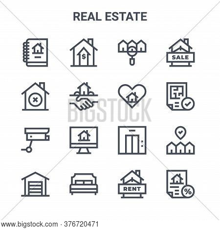 Set Of 16 Real Estate Concept Vector Line Icons. 64x64 Thin Stroke Icons Such As Increase, Discard,