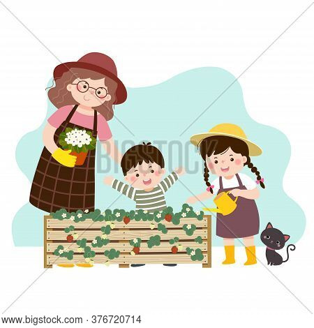 Vector Illustration Of A Cartoon Mother And Her Two Children Looking At The Strawberry Plant In A Ra
