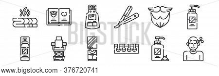 12 Set Of Linear Hairdressing And Barber Shop Icons. Thin Outline Icons Such As Haircut, Toe Separat