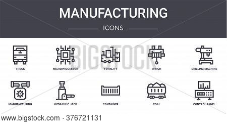 Manufacturing Concept Line Icons Set. Contains Icons Usable For Web, Logo, Ui Ux Such As Microproces