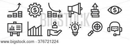 12 Set Of Linear Marketing And Growth Icons. Thin Outline Icons Such As Support, Idea, Growth, Impro