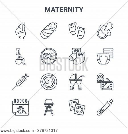 Set Of 16 Maternity Concept Vector Line Icons. 64x64 Thin Stroke Icons Such As Baby, Sport, Diaper,