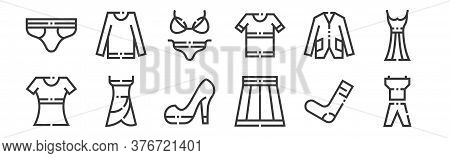 12 Set Of Linear Clothes And Apparel Icons. Thin Outline Icons Such As Sport Clothes, Female Skirt,
