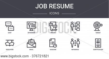 Job Resume Concept Line Icons Set. Contains Icons Usable For Web, Logo, Ui Ux Such As Keywords, As,