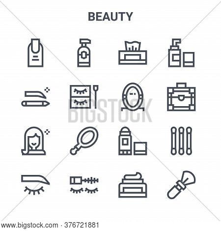 Set Of 16 Beauty Concept Vector Line Icons. 64x64 Thin Stroke Icons Such As Lotion, Eyebrow Pencil,