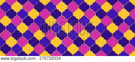 Eid Mubarak Islam Decoration. Ottoman Mosque Window Tile. Ramadan Traditional Mosque Golden Shape. M