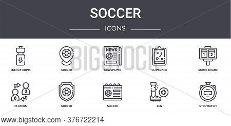 Soccer Concept Line Icons Set. Contains Icons Usable For Web, Logo, Ui Ux Such As Soccer, Clipboard,
