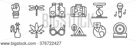 12 Set Of Linear Hippies Icons. Thin Outline Icons Such As Music, Camping Tent, Marijuana, Bonfire,