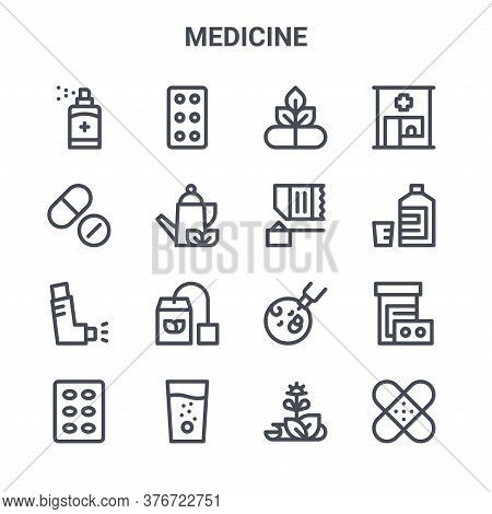 Set Of 16 Medicine Concept Vector Line Icons. 64x64 Thin Stroke Icons Such As Tablets, Pills, Mixtur