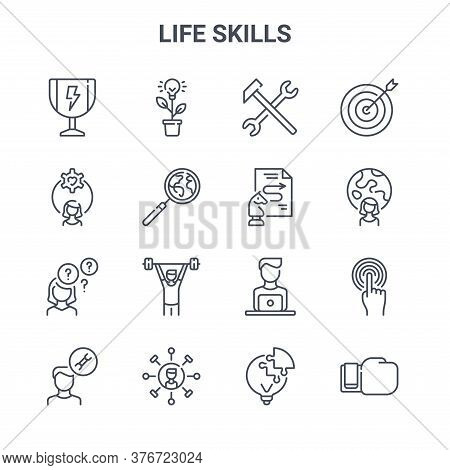 Set Of 16 Life Skills Concept Vector Line Icons. 64x64 Thin Stroke Icons Such As Light Bulb, Woman,