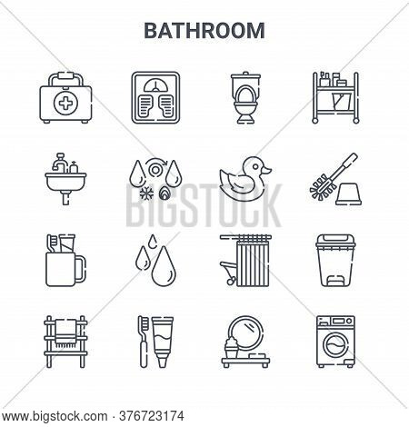 Set Of 16 Bathroom Concept Vector Line Icons. 64x64 Thin Stroke Icons Such As Weight Scale, Sink, To