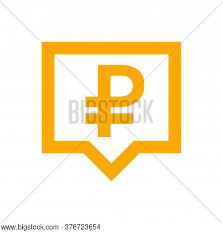 Ruble Currency Symbol In Speech Bubble Square Shape For Icon, Russia Ruble Money For App Symbol, Fin