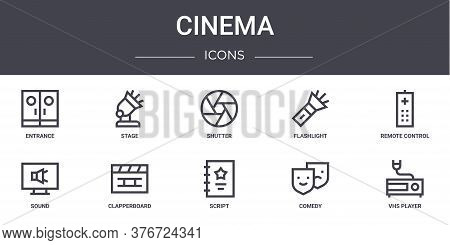 Cinema Concept Line Icons Set. Contains Icons Usable For Web, Logo, Ui Ux Such As Stage, Flashlight,