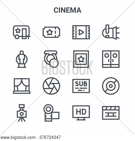 Set Of 16 Cinema Concept Vector Line Icons. 64x64 Thin Stroke Icons Such As Cinema, Award, Entrance,