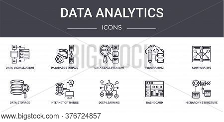 Data Analytics Concept Line Icons Set. Contains Icons Usable For Web, Logo, Ui Ux Such As Database S