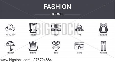 Fashion Concept Line Icons Set. Contains Icons Usable For Web, Logo, Ui Ux Such As Blouse, Hat, Umbr