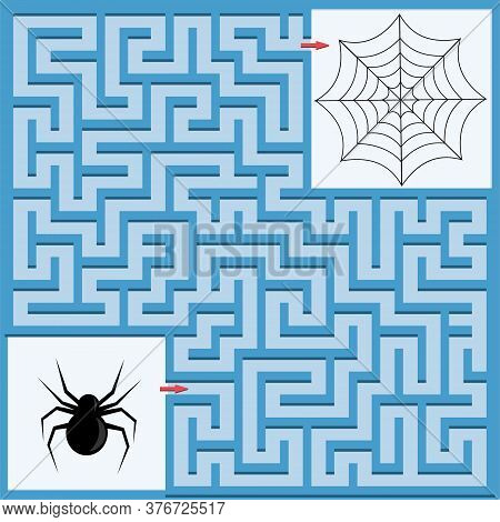 Maze Game For Children, Help The Spider Get Home In The Web, Color Vector Illustration, Children's E