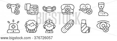 12 Set Of Linear Medical Services Icons. Thin Outline Icons Such As Ophtalmology, Plaster, Doctor, C