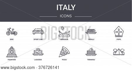 Italy Concept Line Icons Set. Contains Icons Usable For Web, Logo, Ui Ux Such As Sport Car, Taralli,