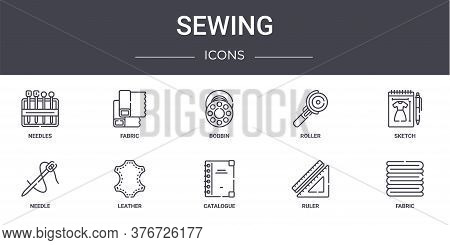 Sewing Concept Line Icons Set. Contains Icons Usable For Web, Logo, Ui Ux Such As Fabric, Roller, Ne