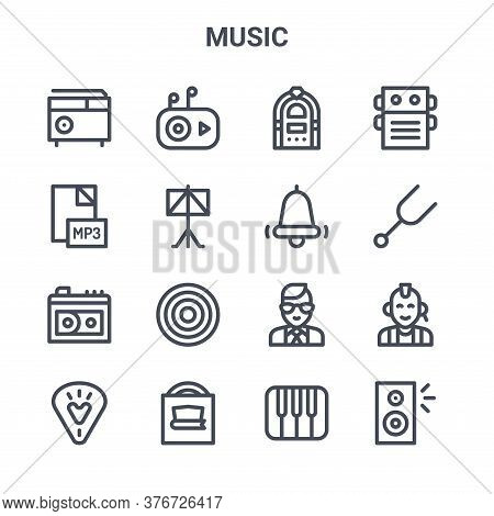 Set Of 16 Music Concept Vector Line Icons. 64x64 Thin Stroke Icons Such As Mp Player, Mp File, Diapa
