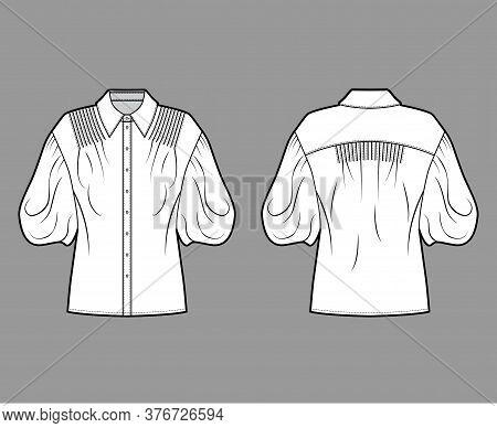 Shirt Technical Fashion Illustration With Elbow Puff Sleeves, Oversized Body, Pintucks, Front Button