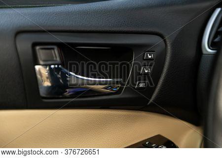 Close-up Of Seat Adjustment Buttons. Modern Car Interior