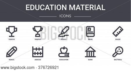Education Material Concept Line Icons Set. Contains Icons Usable For Web, Logo, Ui Ux Such As Trophy