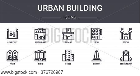 Urban Building Concept Line Icons Set. Contains Icons Usable For Web, Logo, Ui Ux Such As Restaurant