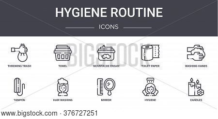 Hygiene Routine Concept Line Icons Set. Contains Icons Usable For Web, Logo, Ui Ux Such As Towel, To