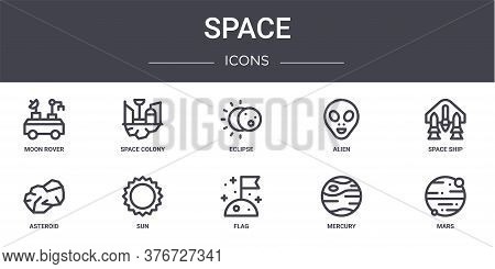Space Concept Line Icons Set. Contains Icons Usable For Web, Logo, Ui Ux Such As Space Colony, Alien
