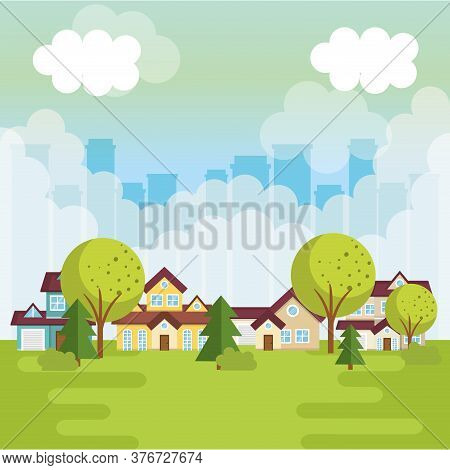 Landscape With Neighborhood Scene Vector Illustration Design