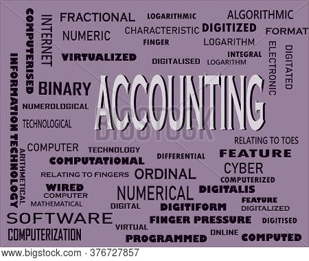 Accounting Word Displayed With Multiple Related Words Cloud On Vector Abstract Text Illustration.