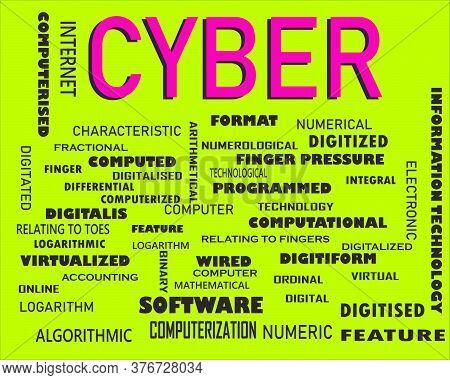 Cyber Word Displayed With Multiple Related Words Cloud On Vector Abstract Text Illustration.