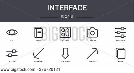 Interface Concept Line Icons Set. Contains Icons Usable For Web, Logo, Ui Ux Such As Book, Camera, S