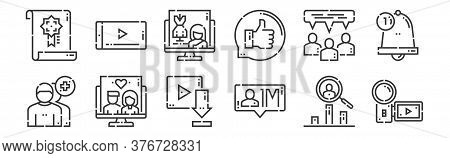 12 Set Of Linear Videoblogger Icons. Thin Outline Icons Such As Camera, Influencer, Drama, Conversat
