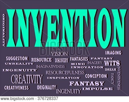 Invention Word Designed With Multiple Related Text Mean On Colorful Vector Cloud Abstract.