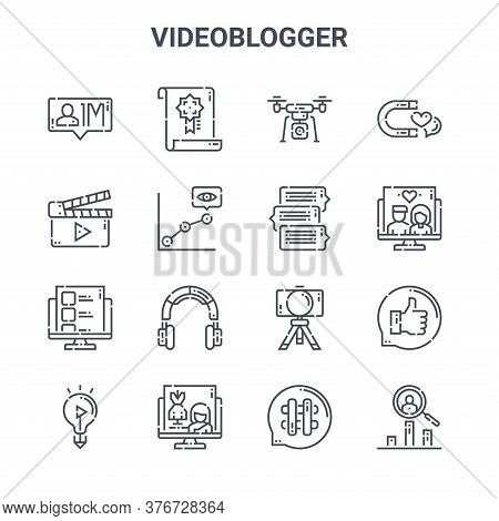 Set Of 16 Videoblogger Concept Vector Line Icons. 64x64 Thin Stroke Icons Such As Reward, Clapperboa