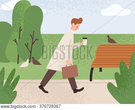 Tired Sleepy Man Holding Paper Coffee Cup And Going To Work Vector Flat Illustration. Sad Office Wor