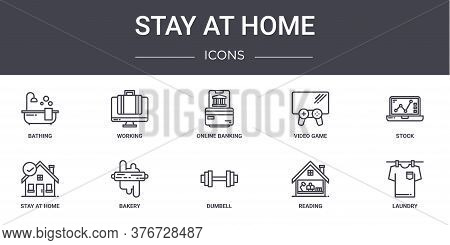Stay At Home Concept Line Icons Set. Contains Icons Usable For Web, Logo, Ui Ux Such As Working, Vid