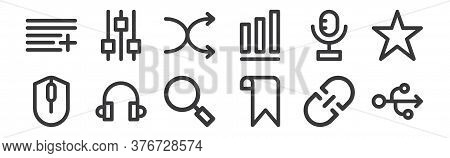 12 Set Of Linear User Interface Icons. Thin Outline Icons Such As Usb Flash Drive, Bookmark, Headpho