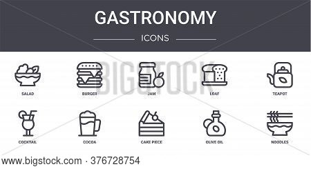 Gastronomy Concept Line Icons Set. Contains Icons Usable For Web, Logo, Ui Ux Such As Burger, Loaf,