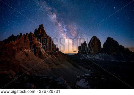 Mliky Way Over The Tre Cime, Alps Mountain, Dolomites, Italy